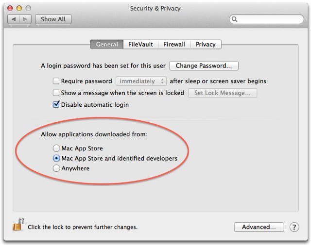 Where GateKeeper is hiding: in System Preferences first tab